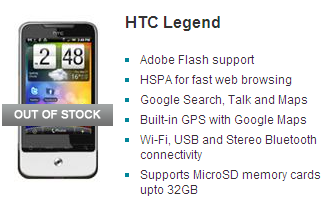 Vodafone sold out of the HTC Legend