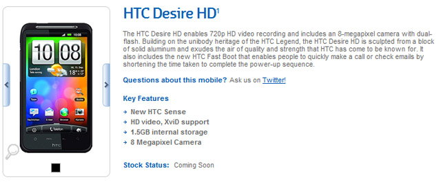 HTC Desire HD will also be available through Crazy John's