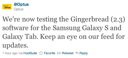 Optus also testing Gingerbread for the Samsung Galaxy S and Galaxy Tab