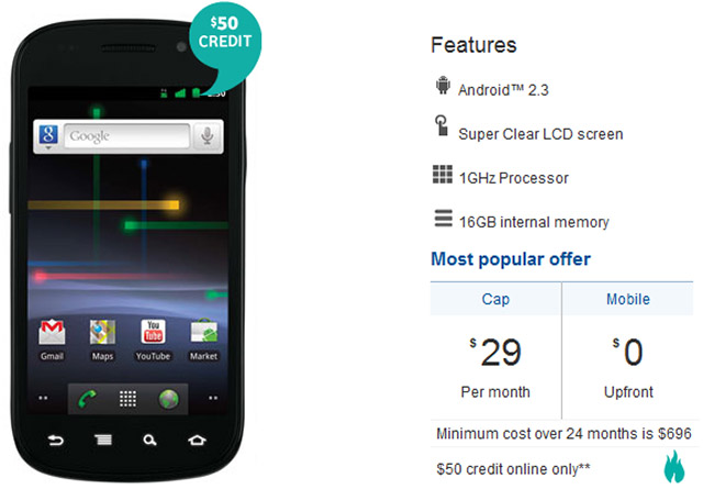 Nexus S from Vodafone now $0 on the $29 Vodafone Cap