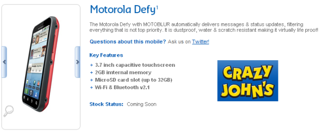 Motorola Defy coming to Crazy John's… in the elusive Red colour