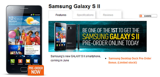 Samsung Galaxy S II available for pre-order from Optus Business, ships in June