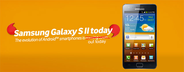 Samsung Galaxy S II available from Vodafone stores starting today
