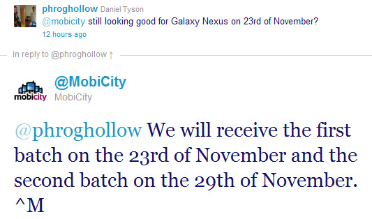 Galaxy Nexus available from MobiCity starting on Wednesday 23rd of November