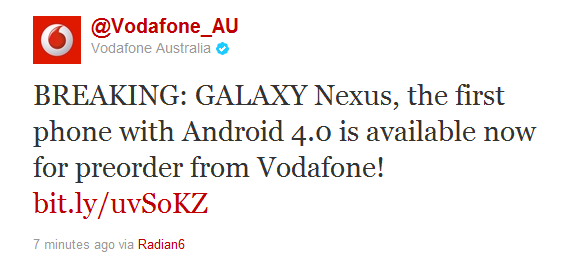 Samsung Galaxy Nexus on Vodafone announced with pricing, order now!