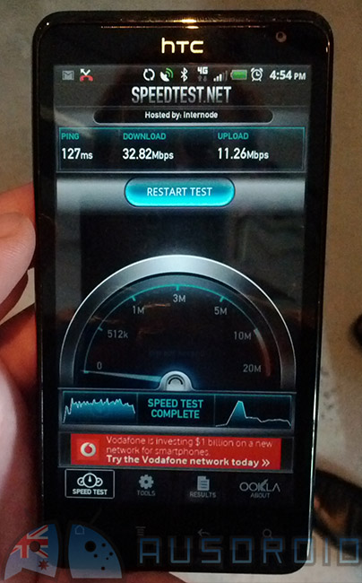 HTC Velocity 4G races through a speed test at 32.8Mbps down / 11.2Mbps up