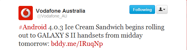 Ice Cream Sandwich upgrade for Vodafone/3 Samsung Galaxy S II available from midday tomorrow