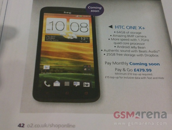 HTC One X+ shows up in O2 catalogue in the UK