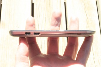 The left side of the PadFone, showing micro-USB and mini-HDMI