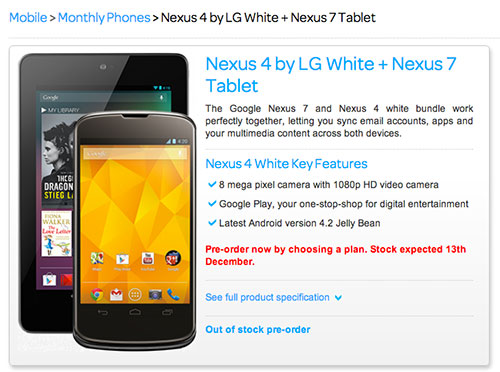 Is the Nexus 4 going to be available in white soon?