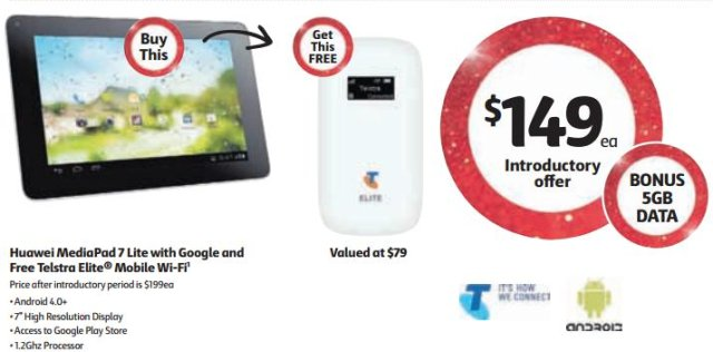 Huawei MediaPad 7Lite + Telstra Elite mobile Wi-Fi – $149 from Coles