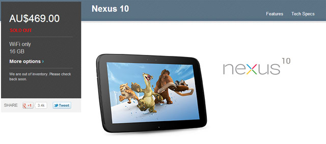 Nexus 10 – 16GB Now out of stock on Google Play