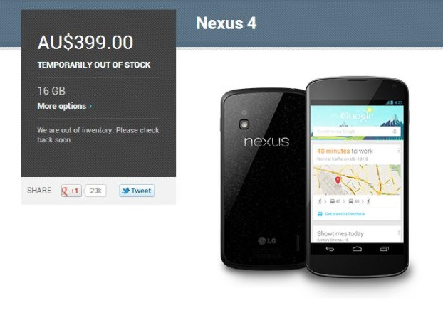 Play Store updates Nexus 4 status to 'Temporarily Out of Stock'