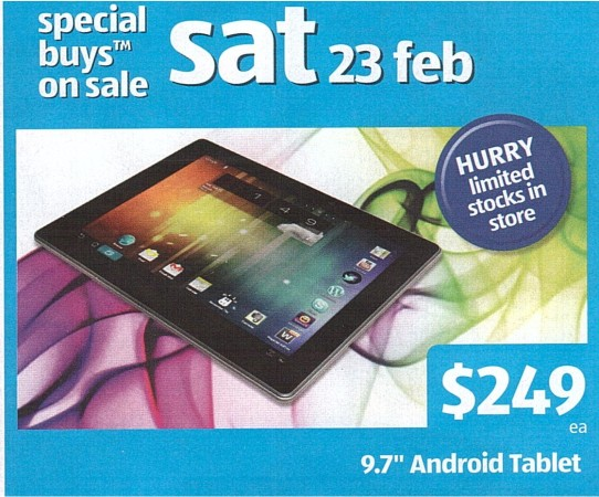 Aldi to sell 3G enabled 10″ Android tablet for $249