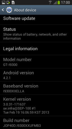 Jelly Bean 4.2.1 leak for the Samsung Galaxy S III