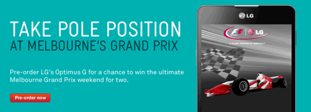 Win a $25,000 Melbourne Grand Prix experience with Telstra and the new LG Optimus G