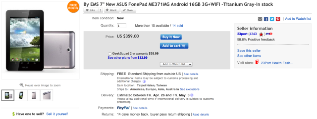 Asus Fonepad on sale via eBay Daily Deals for 350 USD