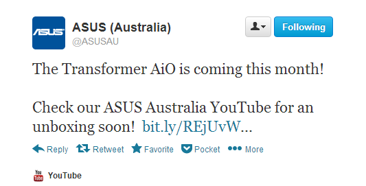 Asus Transformer AiO is coming to Australia in April