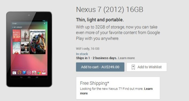 Google attempting to clear Nexus 7(2012) from Google Play with free shipping