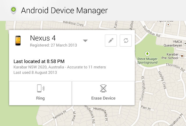 Android Device Manager now live – Track, erase and call your device phone remotely
