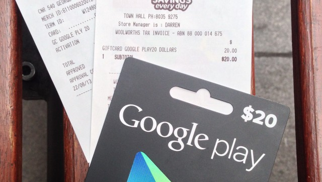 Google Australia officially announces Google Play Gift Cards on-sale