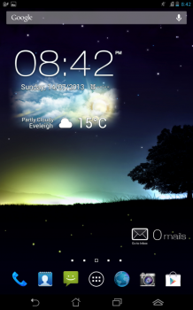 Fonepad's default homescreen