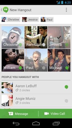 Hangouts Screenshot - Current Status
