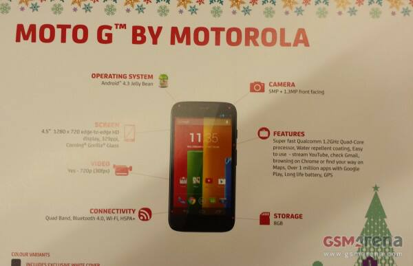 Moto G specs confirmed in brochure