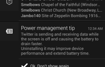 Power management tip notifications