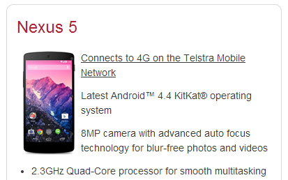 Nexus 5 appears on Telstra's website, will cost $69/mo