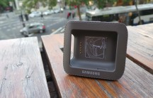 The Galaxy Gear charging dock, complete with faux stitching - on plastic