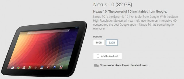 The 32GB Nexus 10 is now out of stock on Google Play