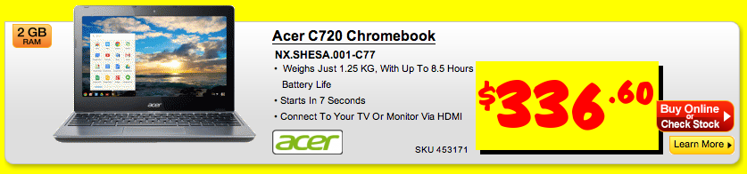 Acer C720 Chromebook on sale at JB HiFi with 15% off this weekend