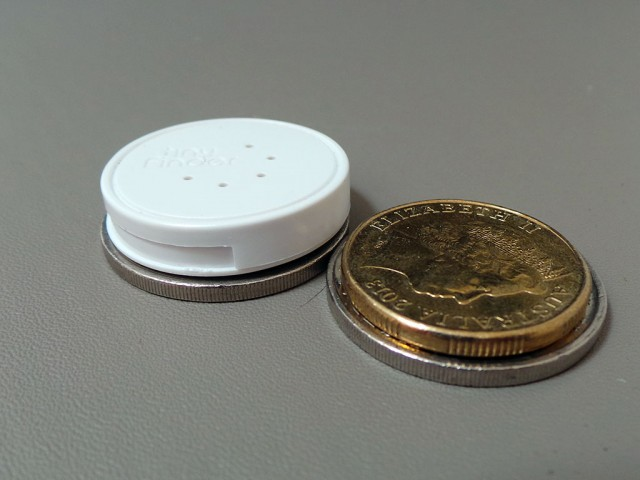 TinyFinder is about the size of a couple of 20 cent / dollar coins.