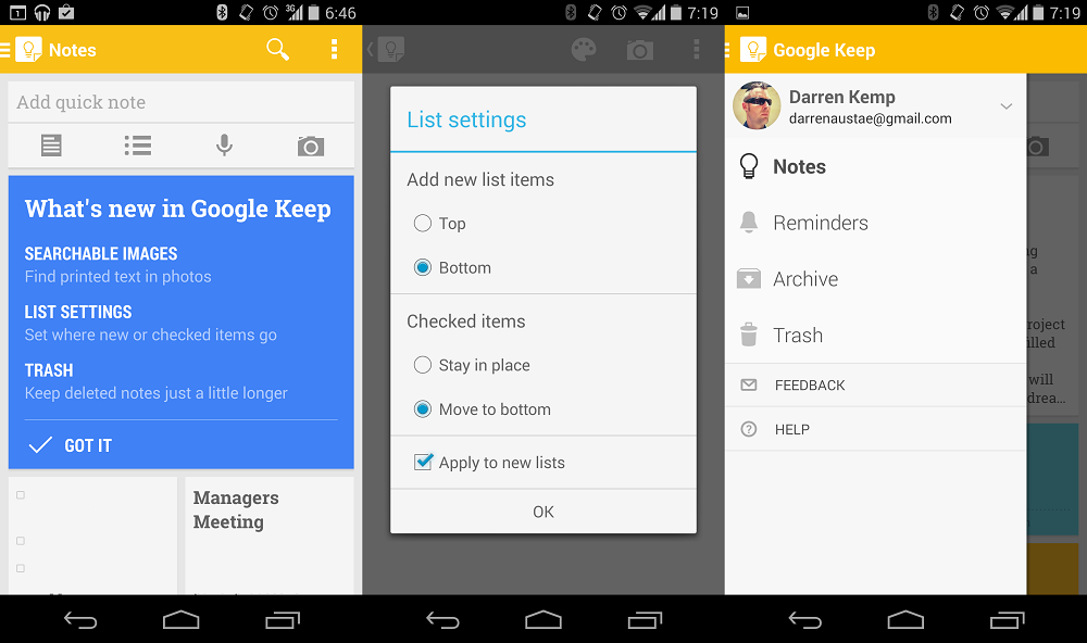 Google Keep updated with new interface and searchable images