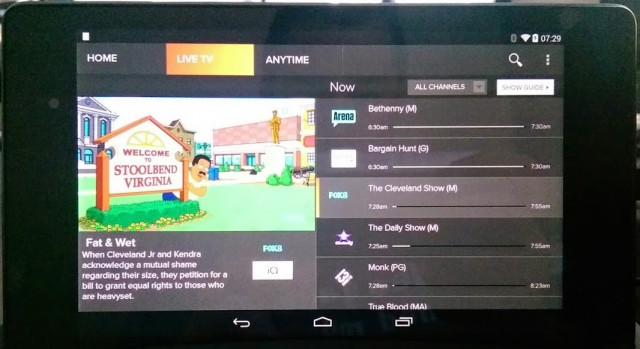 Foxtel Go, working on Nexus 7? We'd suggest it does, and should officially.