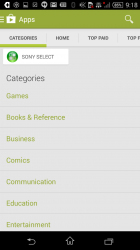 Sony Select in the Play Store Categories List