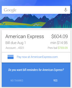 Google Now will now remind you to pay (some of) your bills