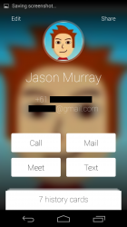 Individual contact card with options