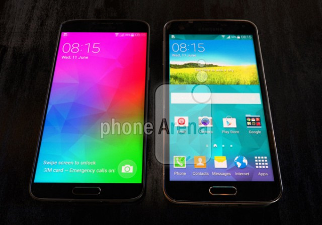 Samsung Galaxy F 'Prime' pictured next to a Galaxy S5