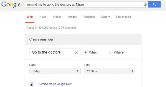 Set reminders from the Google Search box