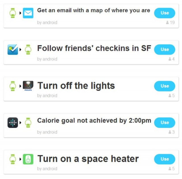 IFTTT Android Wear Functions