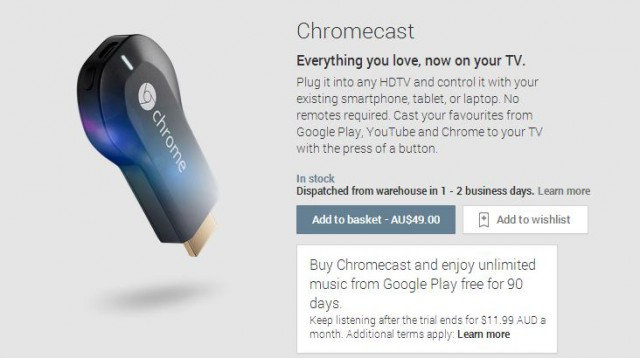 Australian Chromecast customers being offered 90 Day Google Play Music All Access Trial
