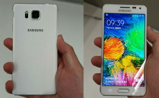 Samsung Galaxy Alpha in white shown off  with metal frame