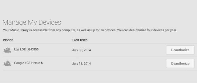 Google Play Music De-Auth