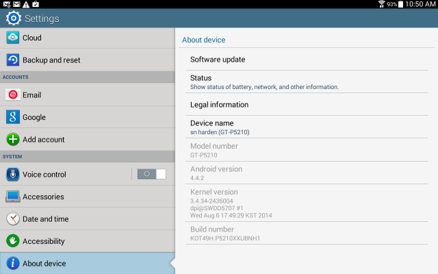 Galaxy Tab 3 - KitKat updated Settings