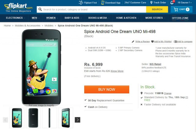 Android One handset from Spice appears briefly on Flipkart
