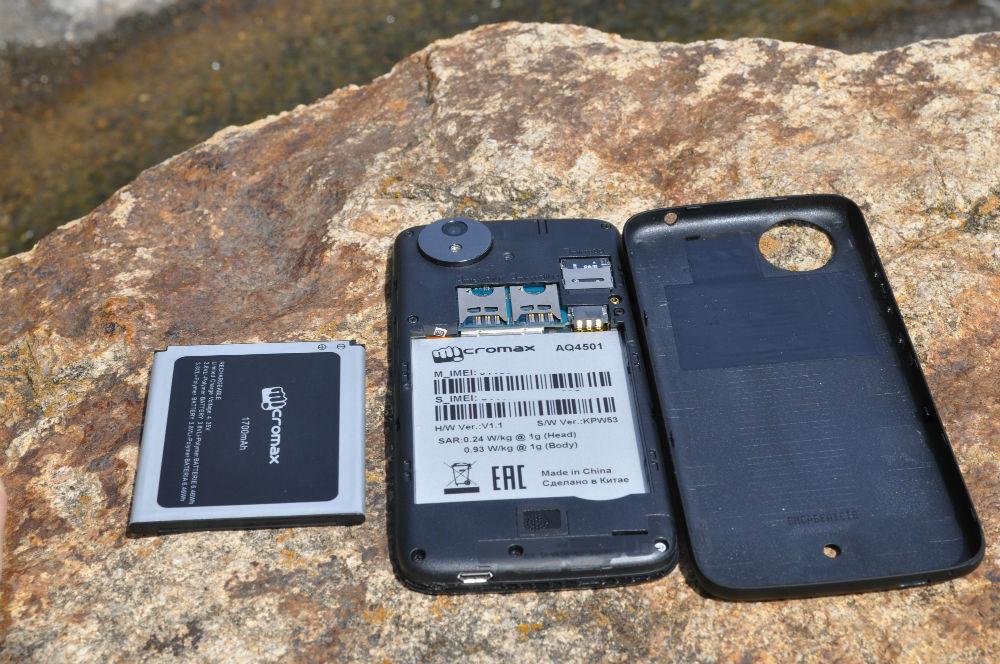 Canvas A1 Battery - Rear - Dual-SIM MicroSD