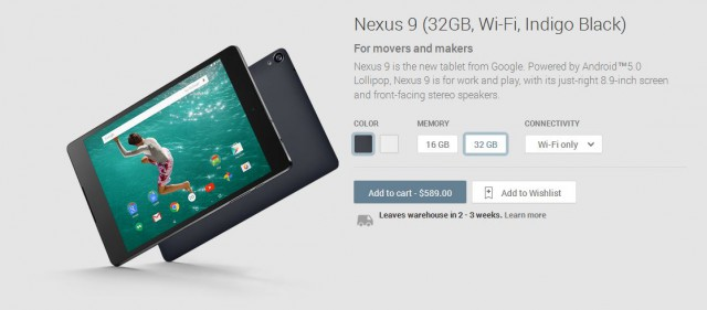 Nexus 9 on-sale on Australian Google Play Store