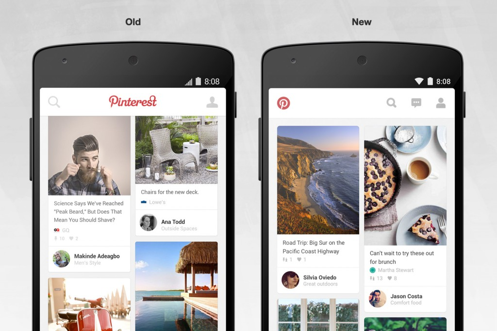 Pinterest old vs new